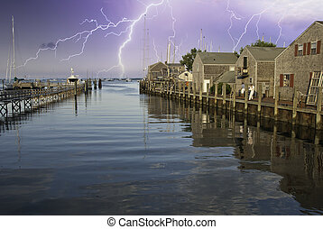 Storm approaching Nantucket Port in Massachusetts U.S.A.