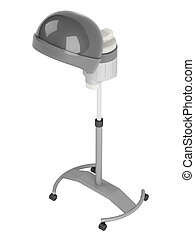 Stand salon hair steamer on wheels isolated on white...