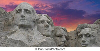 Sunset Colors over Mount Rushmore in South Dakota, U.S.A.
