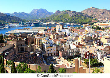 The city of Cartagena, Spain - A panoramic view of the city...
