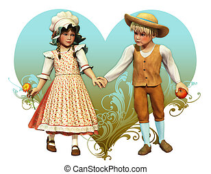 My Lucky Valentine - a decorative picture with two children...
