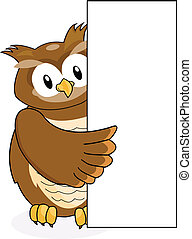 owl with blank sign - illustration of owl with blank sign