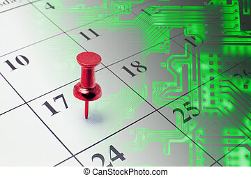 Calendar and Circuit Board - Composite of Calendar and...
