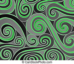 Green spiral - Background with green and black spiral