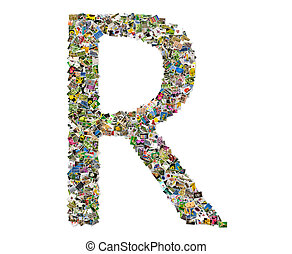 Letter r, photos collage isolated on a white background