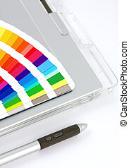 Colour Chart, Graphics Tablet And Pen, close-up view on...