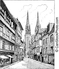 Quimper Cathedral in France vintage engraving - Old engraved...