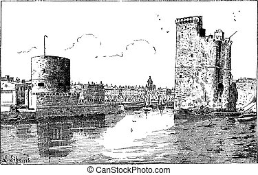 Port of La Rochelle, France, vintage engraving. - Port of La...