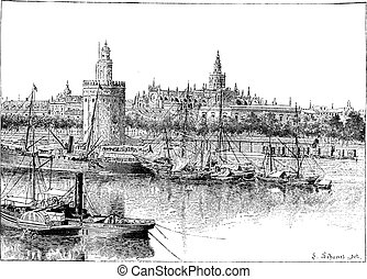 View of Seville, Spain, vintage engraving. - View of...