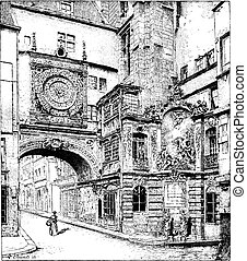 Rouen, the big clock, Normandy, France, vintage engraving.