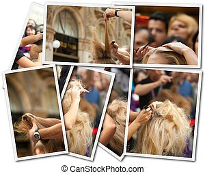 Hair Stylist, photo collage on white