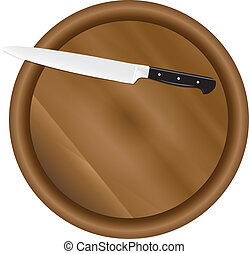 Kitchen board with a kitchen knife Vector illustration