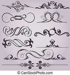 collection of decorative elements - collection of vintage...
