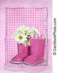 daisies on pink boot