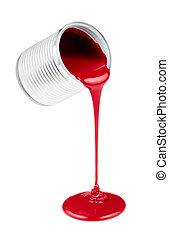 vermelho, líquido, tintas, jorre, lata, isolado