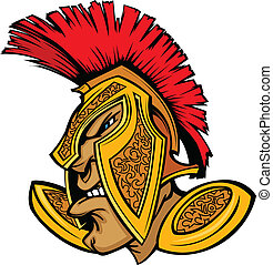 Roman Centurion Mascot Head with He - Cartoon Trojan or...
