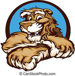 Graphic Vector Image of a Happy Cut - Cougar with Paws...