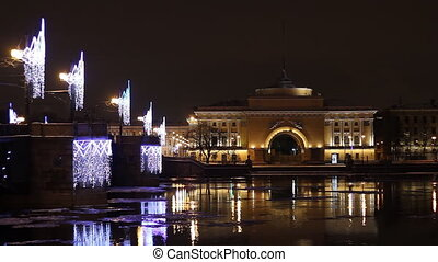 The Admiralty building in St Petersburg (Russia) at night