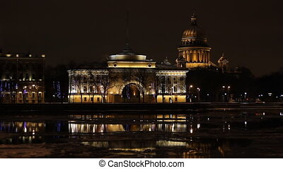 The Admiralty and Isaac Cathedral in St Petersburg (Russia)...
