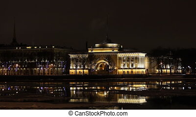 The Admiralty building in St Petersburg Russia at night