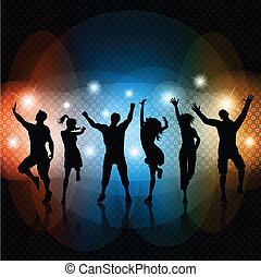 Disco background - Silhouettes of people dancing on a...