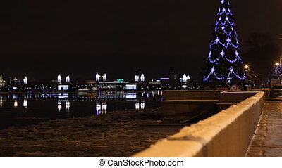 Embankment in St Petersburg (Russia) at night