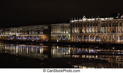 The State Hermitage Museum in St Petersburg Russia at night...