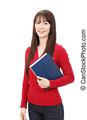 Young asian woman holding a book