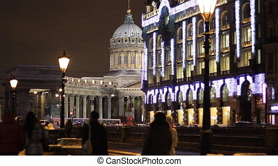 The Kazan Cathedral in St. Petersburg (Russia) at night