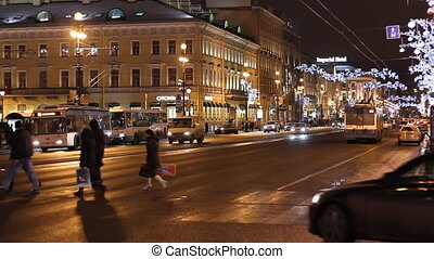 Traffic on Nevsky street in St Petersburg Russia at night