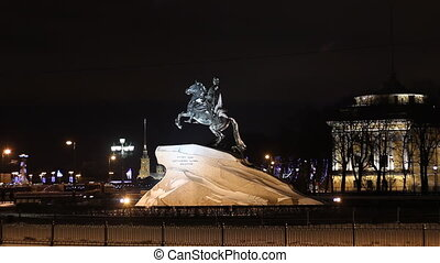 The Bronze Horseman in St Petersburg Russia at night