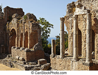 Roman Theatre In Taormina - The ruins of the ancient Roman...