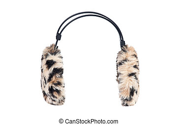 leopard ear-muffs isolated