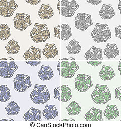 vector set: seamless patterns with abstract doodle flowers
