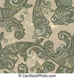 vector seamless paisley pattern on  grungy background