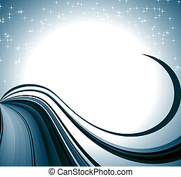 blue background, circles, curves and stars - blue background...