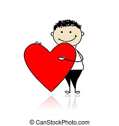 Cute boy with valentine heart, place for your text