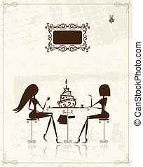 Fashion girls in cafe, illustration for your design