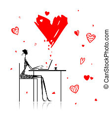 Valentine day. Girl with laptop in cafe