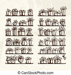 Gift boxes on shelves, sketch drawing for your design