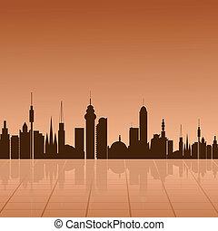 City  at dawn. vector