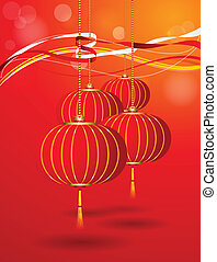 Vector Chinese Hanging Lantern - Vector illustration and can...
