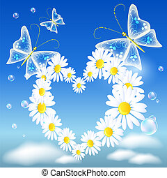 Daisy heart and butterflies - Butterflies and daisy heart in...