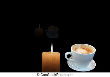 Cup of coffee and burning candle