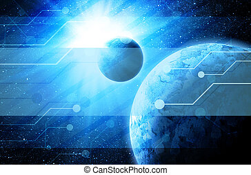 earth in space with technology elements