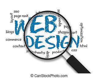 Vergrößern, glas, -, web, design
