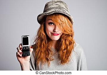 disappoint - young woman hold cellphone making disappoint...