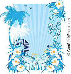 Background with tropical plants and butterflies in pop art...