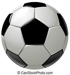 Black and white soccer ball or football, graphic, white...
