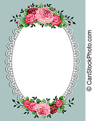 Vintage roses oval frame with space for your text or design,...